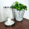 Keramikinė žvakidė su stiklu (sidabras)