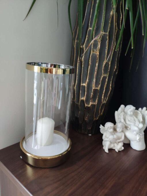 Keramikinė žvakidė su stiklu (auksas) interjere 2